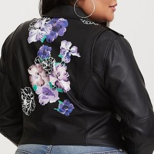 torrid black floral moto faux leather jacket